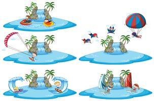 Set van verschillende sport tekenen boven water