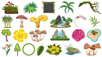 Set van verschillende natuurobjecten vector