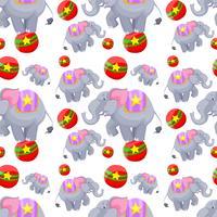 Naadloos ontwerp als achtergrond met olifanten op ballen vector