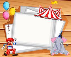 Grensontwerp met clown en olifant