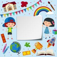 Twee kinderen en kadersjabloon met schoolitems