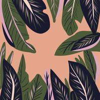 hand getekend Tropische blad naadloze patroon vector
