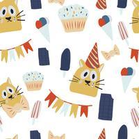 gelukkige verjaardagswenskaarten met kattenontwerp