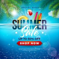 Zomer verkoop ontwerp met strandvakantie elementen en exotische bladeren op onderwater blauwe oceaan achtergrond. Tropische bloemen vectorillustratie met speciale aanbieding typografie voor coupon