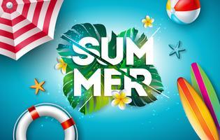 Vector zomer vakantie illustratie met bloem en tropische palmbladeren op oceaan blauwe achtergrond. Typografiebrief, reddingsboei, strandbal en surfplank op Paradise Island
