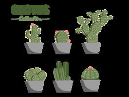 platte cactus verzameling vectorelement