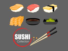 Japanse voedselreeks van de vector van de sushiinzameling