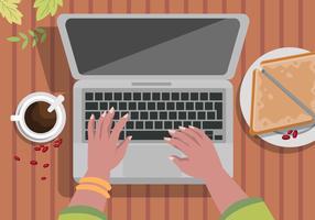 Toevallig die aan Laptop met Koffie Vectorillustratie werken