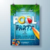 Zomer zwembad partij poster ontwerpsjabloon met palmbladeren, water, strandbal en vlotter op blauwe oceaan landschap-achtergrond