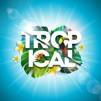 Tropische zomer vakantie ontwerp met Toucan vogel en papegaai bloem op blauwe achtergrond. Vector illustratie met exotische palmbladeren en Phylodendron