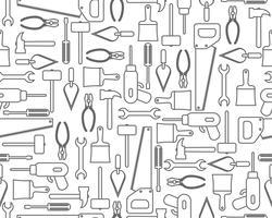 Naadloos patroon van pictogrammenindustrieel materiaal of bouwhulpmiddelen in overzichtsstijl vector