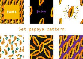hand getekend Naadloze patroon met papaja vector