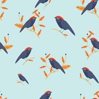 schattige vogel op takje patroon vector