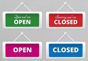 Open en gesloten hangende tekenborden Vector