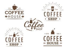 Set van vintage koffie logo sjablonen, insignes en ontwerpelementen. Collectie met logotypes voor coffeeshop, café, restaurant. Vector illustratie. Hipster en retro-stijl.