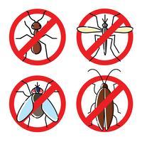 Geen insecten vlakke pictogrammen instellen. Insecticide symbolen. vector