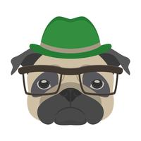 Portret van pug hond met bril en hoed in vlakke stijl. Vectorillustratie van Hipster-hond voor kaarten, t-shirtdruk, aanplakbiljet.