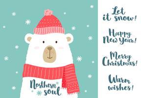 Vector illustratie van schattige cartoon beer in warme muts en sjaal met de hand geschreven groet kerst zinnen voor borden, t-shirt prints, wenskaarten.