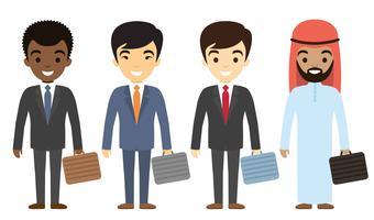 Zakenlieden karakters van verschillende etniciteit in vlakke stijl. vector