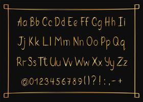 Gouden alfabet in schetsmatige stijl met frame. Vector handgeschreven potlood letters, cijfers en leestekens. Gouden pen handschrift lettertype.