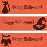 Halloween-banners, aanplakbiljetten met Halloween-elementen zwarte kat, hoed, uil.