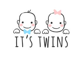Vector geschetst illustratie met babyjongen en meisjesgezichten en inschrijving - het is tweelingen - voor baby showerkaart, t-shirtdruk of affiche.