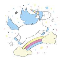 Magische schattige Eenhoorn in cartoon stijl. Doodle eenhoorn voor kaarten, posters, t-shirtafdrukken, textielontwerp