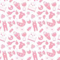 Vector naadloos patroon met babyelementen. Pasgeboren kleding en accessoires herhalende achtergrond in doodle stijl voor textiel, inpakpapier, scrapbooking.