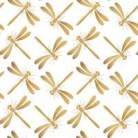 Gouden libel vector naadloze patroon voor textielontwerp, behang, inpakpapier of scrapbooking.