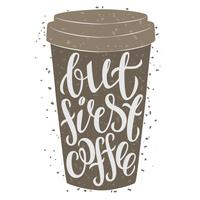 Papieren kopje koffie met de hand getrokken belettering Maar eerste koffie.