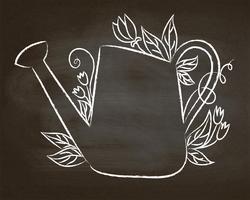 Krijtcontour van uitstekende gieter met bladeren en bloemen op schoolbord. vector