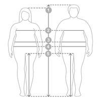 Contouren van overgewicht man en vrouw in volle lengte met meetlijnen van lichaamsparameters. Dames- en herenkleding plus maten. Menselijke lichaamsafmetingen en verhoudingen.