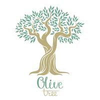 Olijfboom vectorillustratie. Olijfolie. Vector olijfboom voor etiketten, pack.
