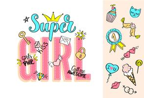 Super Girl belettering met girly doodles en hand getrokken zinnen voor Valentijnsdag kaart ontwerp, meisje t-shirt afdrukken. Hand getrokken buitensporige grappige feminismeslogan in beeldverhaalstijl. vector