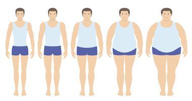 Body mass index vectorillustratie van ondergewicht tot extreem zwaarlijvig in vlakke stijl. Man met verschillende zwaarlijvigheidsgraden. Mannelijk lichaam met ander gewicht.