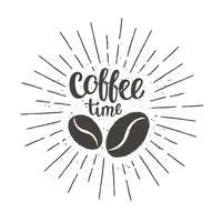 Monochrome vintage koffie tijd belettering met silhouet van koffiebonen en zonnestralen. Vectorillustratie voor drank en drank menu of café thema, poster, t-shirt afdrukken.