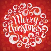 Vrolijk kerstfeest wenskaart. Vector illustratie. Vrolijk kerstfeest belettering in ronde bochten ornament. Hand getrokken inscriptie, kalligrafische ontwerp.