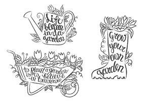 Verzameling van grunge contour tuinieren plakkaten met inspirerende citaten. Set van tuinieren borden met motiverende uitspraken.