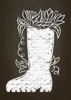 Krijtsilhouet van rubberlaars met bladeren en bloemen op schoolbord. Typografie tuinieren kaart, poster.