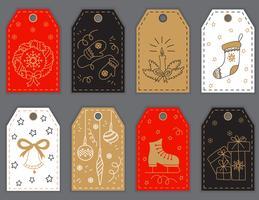 Kerstmis en Nieuwjaar cadeau labels ontwerp met hand getrokken doodle elementen.
