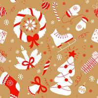 Naadloos patroon met Kerstmiselementen. Vector nieuwe jaar achtergrond.