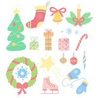 Kerstset van hand getrokken doodles in eenvoudige stijl. Vector kleurrijke illustratie