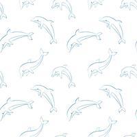 Vector naadloos patroon met dolfijnen.