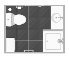 Badkamer interieur bovenaanzicht vectorillustratie. Plattegrond van de toiletruimte. Plat ontwerp.