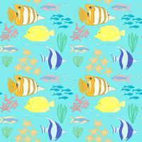 Naadloos patroon met zeevis. vector