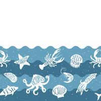 Horizontaal herhalend patroon met zeevruchtenproducten. Zeevruchten naadloze banner met onderwaterdieren. Tegelontwerp voor restaurant, visvoerindustrie of markthandel.