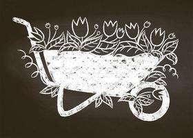 Krijtsilhouet van uitstekende tuinkruiwagen met bladeren en bloemen op schoolbord. Typografie tuinieren kaart, poster.
