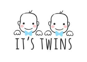 Vector geschetst illustratie met babyjongen gezichten en inscriptie - het is een tweeling - voor baby shower kaart, t-shirt afdrukken of poster.