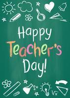 Gelukkige de groetkaart van de Lerarendag of aanplakbiljet op groen schoolbord in schetsmatige stijl met handdrawn sterren en harten.