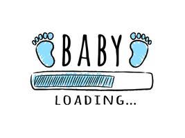 Voortgangsbalk met inscriptie - laden van baby's en voetafdrukken van kinderen in schetsmatige stijl. Vector illustratie voor t-shirt design, poster, kaart, baby shower decoratie.